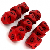 Red & Black Opaque D10 Ten Sided Dice Set